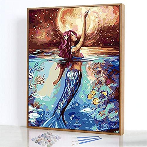 GJJHR DIY Malen nach Zahlen-Ölgemälde Geschenk für Erwachsene Kinder Anfänger Leinwand Ölgemälde Set-Meerjungfrau Gemälde - 40x50cm(Ohne Rahmen)