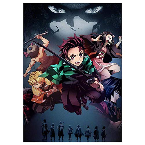 six-day Japanisches Anime-Poster, Demon Slayer, beschichtetes Papier, zum Aufhängen, als Wanddekoration, H01