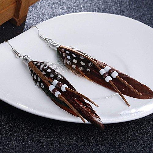jieGREAT 🎄❄ Damenschmuck ❄ ,Böhmische Stil Perle Quaste Feder Ohrringe Mode Feder Kette baumeln Ohrring