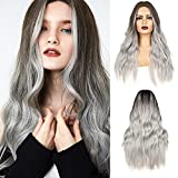 REECHO 28 Inch Ombre Silver Gray Wigs Long Wavy Balayage Wigs with Hand-Tied Natural Hairline and Breathable Cap for Daily Use Party