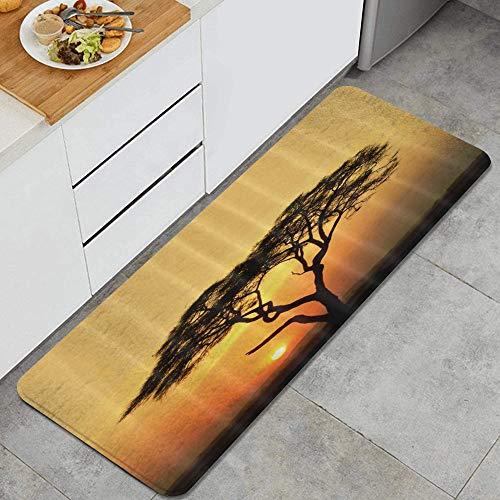 PATINISA Alfombra de Cocina,Árbol de Acacia con Puesta de Sol,Antideslizante Estera Cocina Lavable Alfombrillas Absorbentes Pasillo alfombras,120x45cm