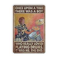 2個 Dajoan昔々、少年はドラムを演奏するのが大好きでしたヴィンテージのブリキの看板、レトロな金属の看板壁アートプラークの装飾バーレストランの家の装飾壁画8x12インチの面白いギフト メタルプレート レトロ アメリカン ブリキ 看板