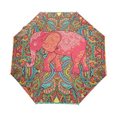 Save Cute Elephant Sun/&Rain Automatic Umbrella Windproof Travel UV