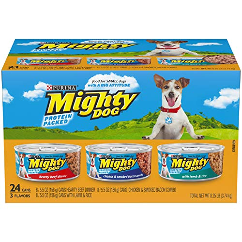 Purina Mighty Dog Small Breed Wet Dog Food Variety Pack, Hearty Beef, Smoked Chicken & Bacon Combo, Lamb & Rice - (24) 5.5 oz. Cans