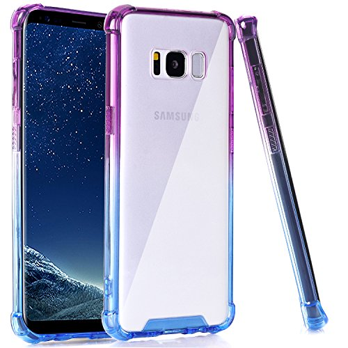 BAISRKE Clear Case for Galaxy S8 Plus, Shock Absorption Flexible TPU Soft Edge Bumper Anti-Scratch Rigid Slim Protective Cases Hard Plastic Back Cover for Galaxy S8 Plus - Blue Purple Gradien