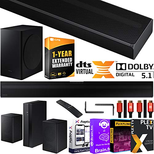 SAMSUNG HW-Q60T 5.1ch Acoustic Beam Soundbar with Wireless 3D Surround Sound Rear Speaker Kit Dolby Digital 5.1 DTS Virtual:X Bundle w/2x Deco Gear HDMI Cables + Streaming Kit + Extended Care Package