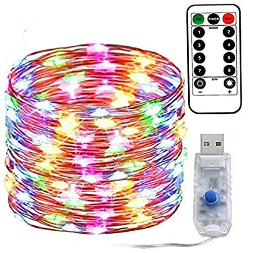 LED String Lights, 200 LED USB String Lights with Remote Fairy Lights, 33ft 8 Modes Dimmable Copper Wire Lights, Twinkle String Lights for Bedroom Patio Parties (Multicolor)