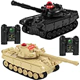 Click N' Play RC Battle Tanks Infrared Full Size Tank with LED Indicators Rotating Turret Detailed Designed Realistic Lights and Sounds Single and Multi-Player Modes (2 Colors-Set of 2)
