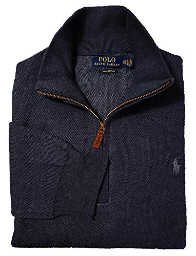 Polo Ralph Lauren Men's Textured 1/2 Zip Pima Cotton Mock Neck Pullover Sweater (Large, Navy Heather/Gray Pony)