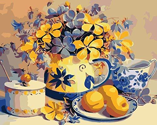 DIY Olieverfschilderij van Nummers Kits, Europees Theeservies Fruitschaal Canvas Olieverf voor Volwassenen Beginner met Borstels