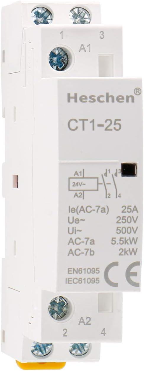 Heschen Contactor de CA doméstico CT1-25 Ie 25A 2 polos Dos normalmente abiertos 24V Voltaje de bobina 35mm Montaje en carril DIN