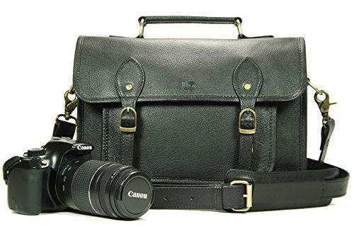 Leftover Studio Pebeled Leather Camera Bag DSLR Messenger Shoulder Case with Removable Camera Caddy 15 Inch Black