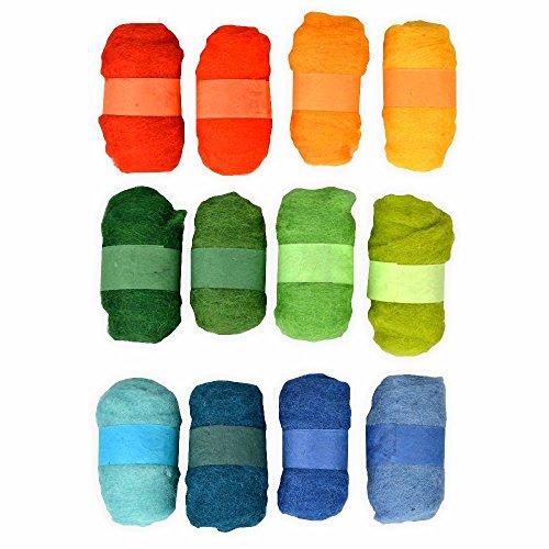 Filzwolle Mega Set 12er Set gelb/grün/blau zum Nassfilzen, Trockenfilzen uvm
