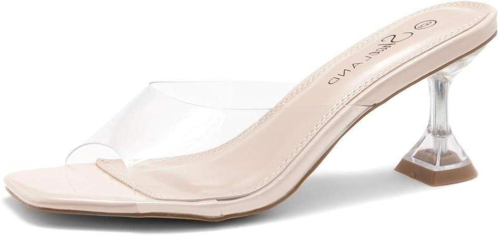 Shoe Land Celebrate Women's Open Toe Open Back Stiletto Heel Dress Shoes Perspex Vamp Slip on Clear Heels Sandals