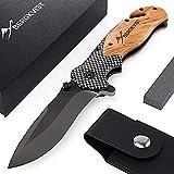 BERGKVIST 3-in-1 Taschenmesser K19 Messer extra scharf I Klappmesser mit Holzgriff I Outdoor Messer mit Titaniumklinge aus Edelstahl I...
