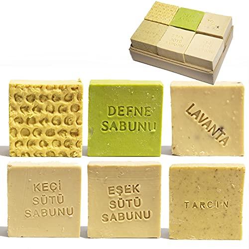 6 x 150g Naturseifen-Set | handgemachte Seifen ideal geeignet als Handseife, Körperseife und Haarseife für eine sanfte Haut mit schönem Duft | Eselsmilchseife & mehr