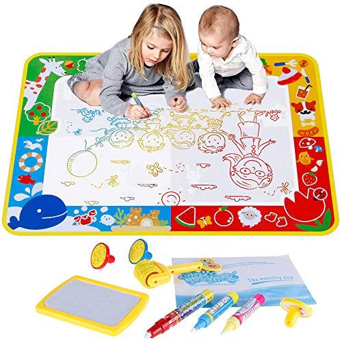 Anpro Wasser Doodle Zeichnung Matte Painting Matte 70 x 100cm mit 3 Stifte, 3 Stempelformen 1 Raddichtung und 1 Wasserschale, Wiederverwendbare Wasser Malmatte für Kinder Baby Mädchen Jungen, MEHRWEG