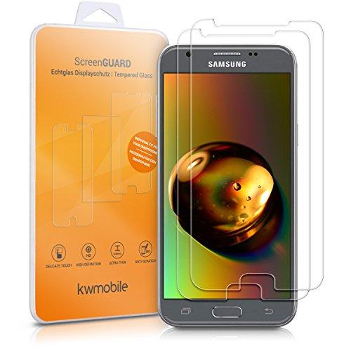 kwmobile 2X Folie kompatibel mit Samsung Galaxy J3 (2017) DUOS - Glas Handy Schutzfolie - Full Screen Bildschirm Schutz