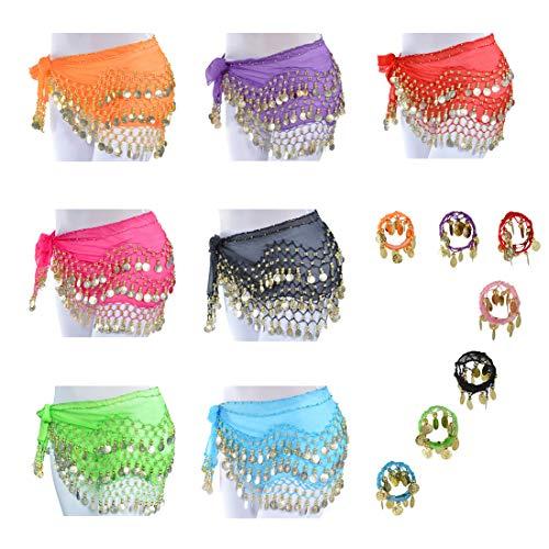 LZYMSZ Bufandas de Cadera para Danza del Vientre, Faldas con Forma de Onda para niñas/Mujeres, Envueltas con Monedas de Oro 128, Cinturón de Disfraces de Cintura con Brazaletes Pulseras (7-Color)
