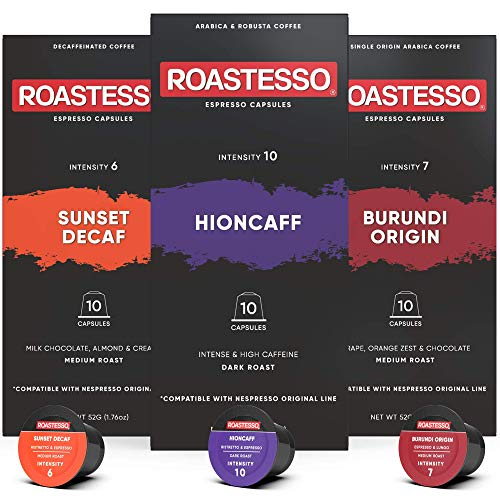 Roastesso Espresso Capsules, 30 Best Seller Variety Pack Coffee Pods Compatible with Nespresso Original Line Machines, Roasted in USA, Sunset Decaf, Burundi Single Origin, Hioncaff Strong Caffeine Ristretto