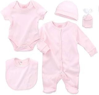 Rock-a-Bye Rock-a-Bye Baby Set Mädchen | Motiv: Rosa | 5 Teile Erstausstattung für Neugeborene & Kleinkinder | Größe: 68 3-6 Monate