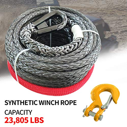 """RUGCEL WINCH 3/8"""" x 85' Synthetic Winch Rope with Hook, Winch Cable with Protective Sleeve, Car Tow Recovery Cable for 4WD Off Road Vehicle Truck ATV UTV SUV 23,805 LBS Breaking Strength (Red Hook)"""