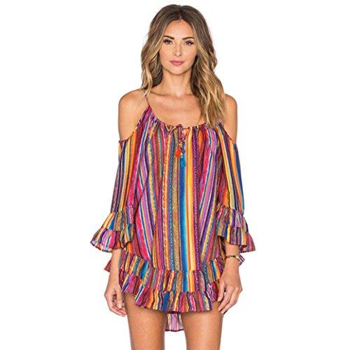 Vestido Vestido con Flecos de la Playa de Fringe de la impresión del Arco Iris de Las Mujeres...