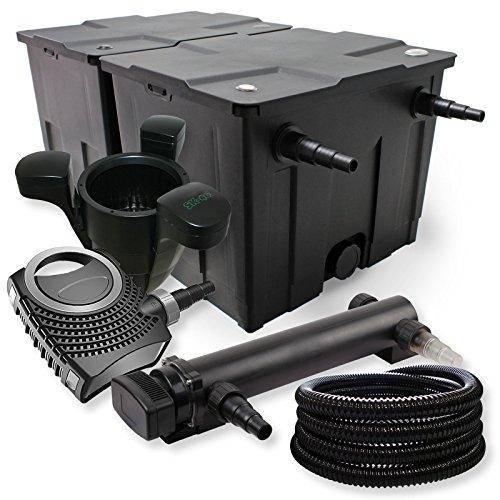 SunSun Kit de Filtration de Bassin 60000l 36W UVC Stérilisateur Neo 80W Pompe Tuyau Skimmer