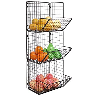 Rustic Brown Metal Wire 3 Tier Wall Mounted Kitchen Fruit Produce Bin Rack/Bathroom Towel Baskets