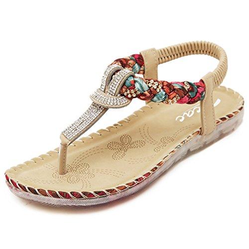 Zicac Women's Bohemia Slingback T-Strap Rhinestone Sandals Flats Shoes (Apricot, Numeric_7)