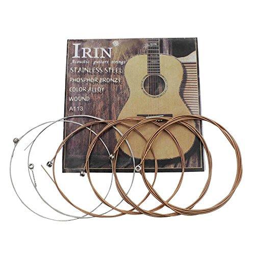 Muslady Cordes de guitare folk acoustique en acier inoxydable alliage de cuivre noyau de cuivre, 6pcs/pack (.010-.047)