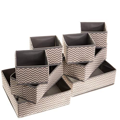 2friends 8er Set Schubladen Ordnungssystem Schubladen Organizer, 8 stabile Boxen in 3 verschiedenen Größen, aus robustem Non-Woven Vlies