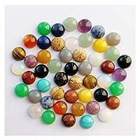 Colorful Linght ファッションミックス50ピース自然石カボションビーズノーホール6 8 10 12 14 16 18 20 mmシングルアークジュエリーリングアクセサリー (Color : 10MM mixed)