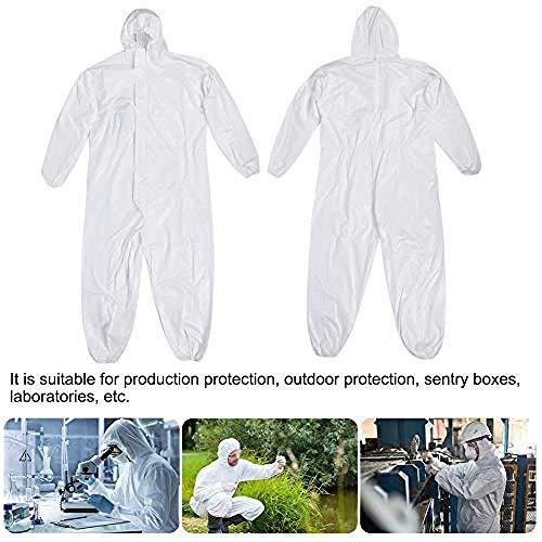 Einweg Overall Schutzkleidung Multi Schutzanzug gegen Chemie,weißer Einweg-Kapuzenanzug Schutzanzug Ganzkörperanzug Schutzanzug Schutzanzug(M.)-XXXL