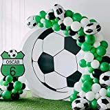 GIHOO Soccer Party Balloon Garland Kit, 108pcs Balloons Soccer Balloons 12inch Black Green White Balloon with 16ft Strip for Football Party Decoration Kids Boy Birthday Party (Soccer Garland)