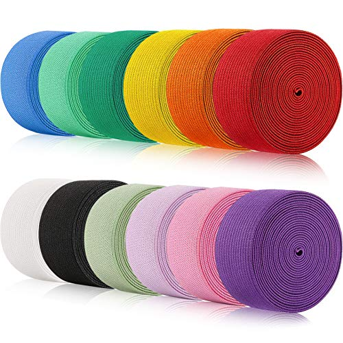 12 Rolls Braided Elastic Bands Colorful Elastic Rope/Elastic Cord Heavy Stretch Strap Cord Elasticity Knit Flat Elastic Band for Sewing Crafts DIY, Bedspread, Cuff (1 Inch Wide 26 Yard Long)