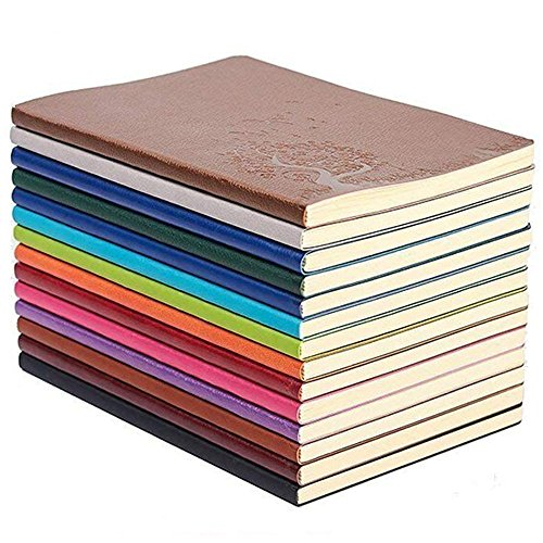 GRT A5 PU Leder Bunte Schreiben Notebook Journal Tagebuch Notizbuch Täglichen Notizblock Nette Reise Journal Notizbücher (Set von 4 Zufällige Farbe)