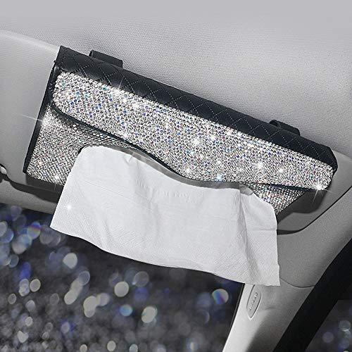 Dotesy Sparkling Bling Car Visor Tissue Holder Leather Crystals Paper Towel Cover Case for Women(White-Black)