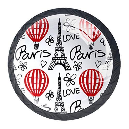Manijas para cajones Perillas para gabinetes Perillas Redondas Paquete de 4 para armario, cajón, cómoda, cómoda, etc. - Globo Rojo Paris Eiffel