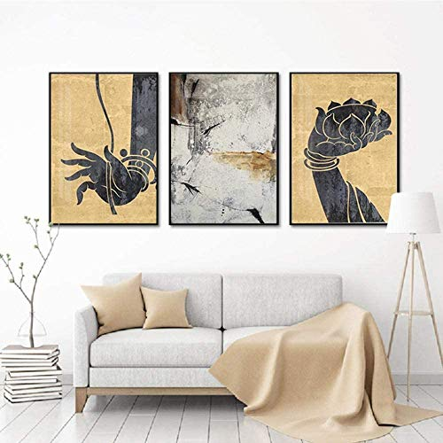 Religious Buddha Lotus Canvas Poster and Wall Art Picture Print Modern Paintings for Family Living Room Decor 3Psc/Set (24x32inchx3,Framed)