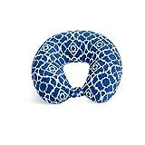 World's Best Feather Soft Microfiber Neck Pillow, Cobalt Blue Trellis