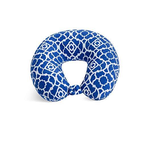 World's Best Feather Soft Microfiber Neck Pillow, Blue, Cobalt Bluee Trellis