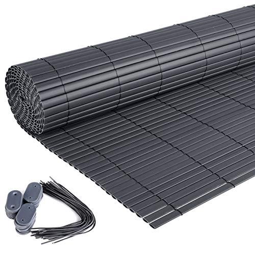Laneetal PVC Sichtschutzmatte Grau Gartenzaun Sichtschutzzaun für Garten Balkon Terrasse, 100 x 400 cm