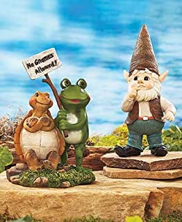 No Gnomes Allowed Garden Statue Set. This 2-piece Set Features A Turtle And Frog Statue With A