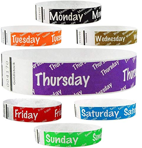 """Heavier Tyvek Wristbands 7.5 Mil - Goldistock Whole Week Variety Pack 3,500 Count - ¾"""" Arm Bands - 500 Each: Monday, Tuesday, Wednesday, Thursday, Friday, Saturday, Sunday - Paper-Like Party Armbands"""