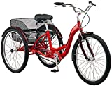 Schwinn Meridian Adult Trike, Three Wheel Cruiser Bike, 1-Speed, 26-Inch Wheels, Cargo Basket, Red