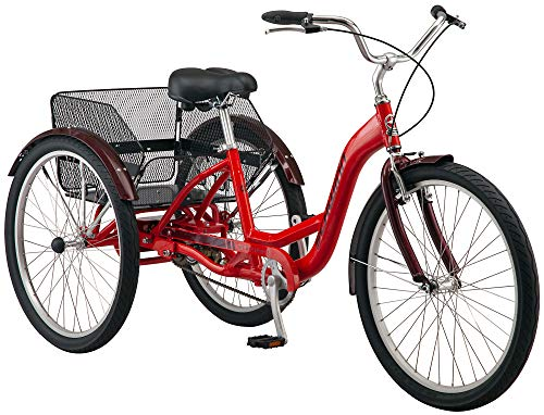 Schwinn Meridian Adult Trike, Three Wheel Cruiser Bike, 1-Speed, 26-Inch Wheels, Cargo Basket, Red