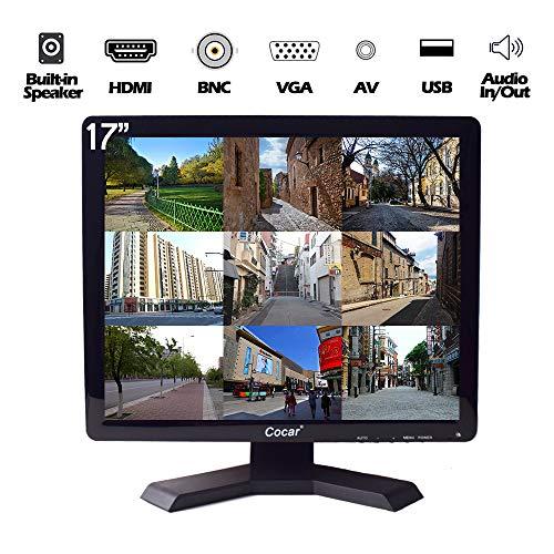 17 Pulgadas CCTV Monitor, 1280x1024 HD LCD Seguridad Pantalla(LED Retroiluminación) con VGA/HDMI/AV/BNC USB Drive Player Altavoz Incorporado para Casa/Tienda Vigilancia Cámara STB PC