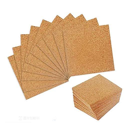 SSPECOTNR 50 Stück Korkplatten Selbstklebende Wandkorkplatte Quadrate Korkmatte mit Starkem auf Rückseite Klebstoff Braun Korktafel 10 * 10cm Kork für DIY Untersetzer Modellbau Basteln Pinnwand