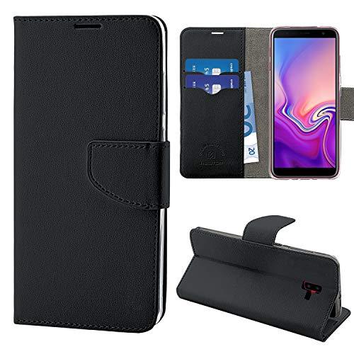 N NEWTOP Cover Compatibile per Samsung Galaxy J6 Plus (2018), HQ Lateral Custodia Libro Flip Chiusura Magnetica Portafoglio Simil Pelle Stand (Nero)